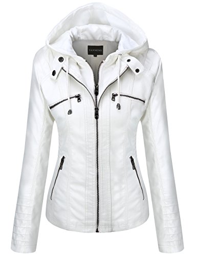 (Tanming Women's Womens Hooded Faux Leather Jackets (Medium, White))