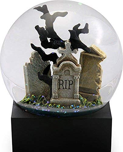 Raven in Cemetery on a Tombstone Water Globe with Crows Flying -