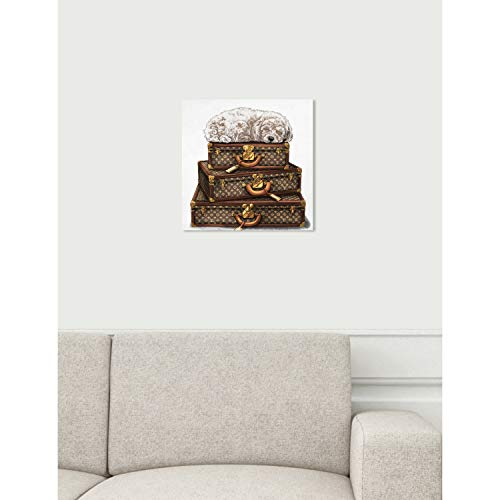 The Oliver Gal Artist Co. Oliver Gal 'Sleeping Poodle White' Brown Fashion Wall Art Print Premium Canvas 12