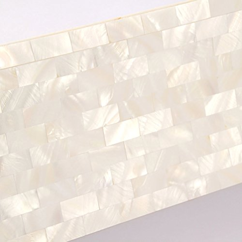 Mother Of Pearl Mosaic Tiles Interior Wall Panels Kitchen Backsplash White Tile Bathroom Subway Fireplace Wall Sea Shell Tile [Pack of 11PCS(11.8x11.8x0.08 Inches /each)]