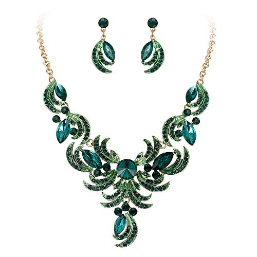 BriLove Women's Wedding Bridal Crystal Floral Leaf Statement Necklace Dangle Earrings Set Emerald Color Gold-Toned ()