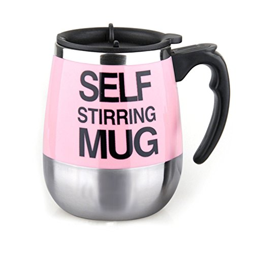 Outamateur Automatic Electric Stirring Coffee Mug Double Layer Stainless Steel Self Stirring Auto Coffee Mugs Self Mixing Cup for Morning, Office, Travelling (450ml/15.2oz) (Pink)