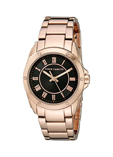 Vince Camuto Women's VC/5230BKRG Black Dial Rose Gold-Tone Bracelet Watch
