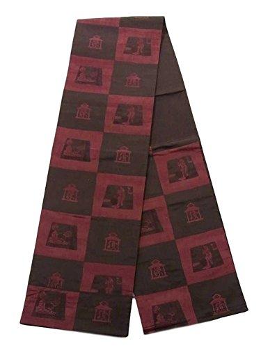 ヒューズマインド真剣に木屋太謹製 リサイクル 袋帯 市松取りに染師と織師 正絹 六通