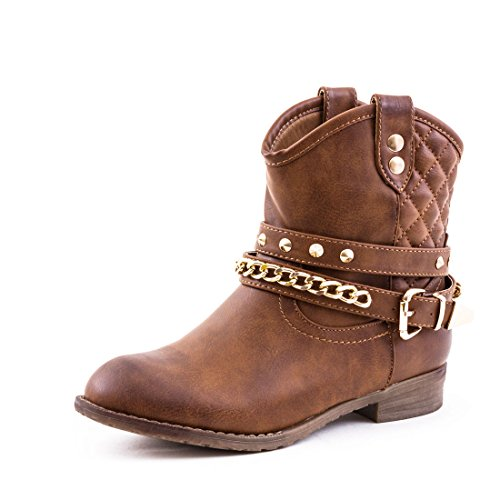 Damen Western Cowboy Stiefel Stiefeletten Boots Schuhe in hochwertiger Lederoptik mit Nieten Camel