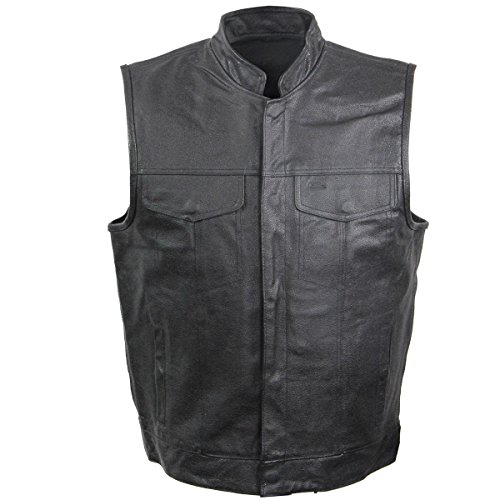 USA Leather Rumble Mens Leather Vest with Gun Pocket - 3X-Large (Leather Motorcycle Vest 3x)
