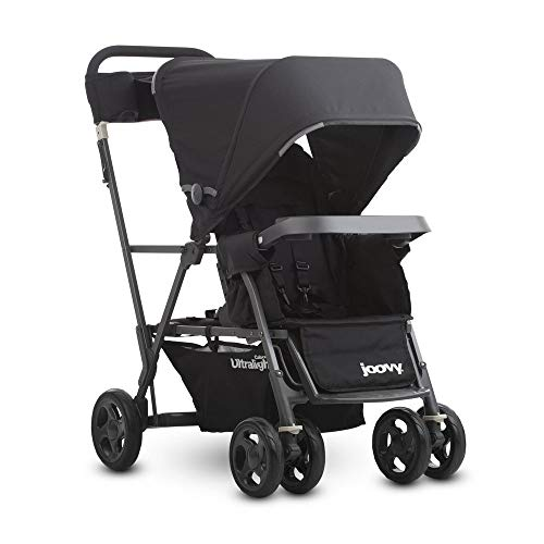 Joovy Caboose Ultralight Graphite Stroller, Black (Double Stroller For Newborn And 2 Year Old)