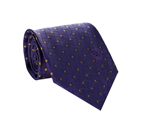 Versace Men's Geometrical Square Patterned Silk Necktie Purple