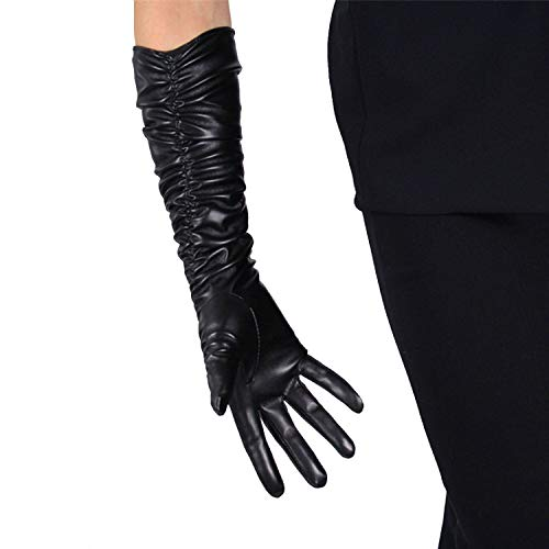 - DooWay Elegant Opera Gloves 20-inch Elbow Length Ruched Black Evening Party Dress Texting Touchscreen Faux Leather Gloves