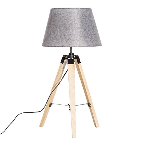 "HomCom 27"" Linen Fabric Table Lamp with Wooden Tripod Stand - Grey -"
