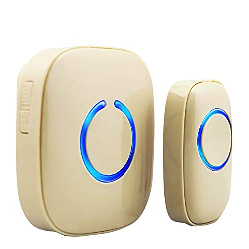 SadoTech Model C Wireless Doorbell, Easy Install, Over 1000-feet Range, 52 USA Chimes, Adjustable Volume and LED Flash, (Beige)