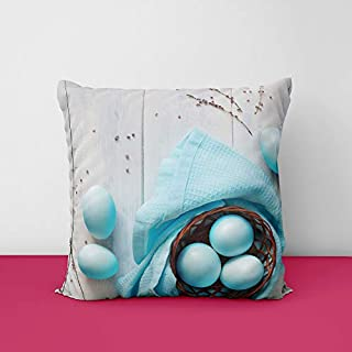 41Wm2pHd1mL. SS320 Wood Easter Blue Square Design Printed Cushion Cover