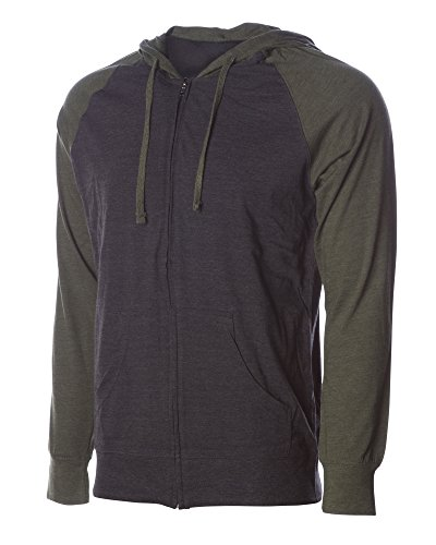 Global Blank Lightweight T-Shirt Material Raglan Zip up Hoodie with Pockets Charcoal/Army M by Global Blank (Image #1)
