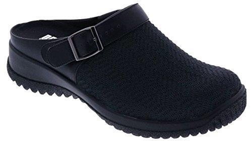 (Drew Shoe Savannah 17100 Women's Casual Clog: Black/Wavy/Stretch 9.5 Wide (D) Buckle)