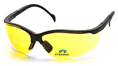 Pyramex Safety SB1830R20 Venture II Readers Black Frame with Amber + 2.0 - Glasses Shooting Amber