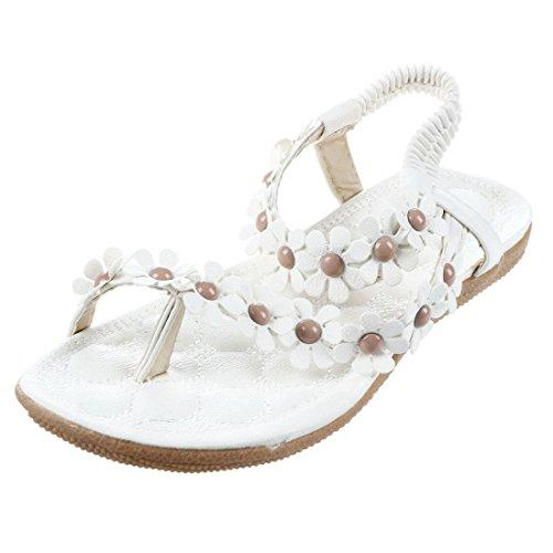 SODIAL New Flip-flop sandals open toe flip Women shoes flat flats bohemia flower beaded soft outsole sweet for Women 669 white US6.5=EUR37=feet length 23.5CM