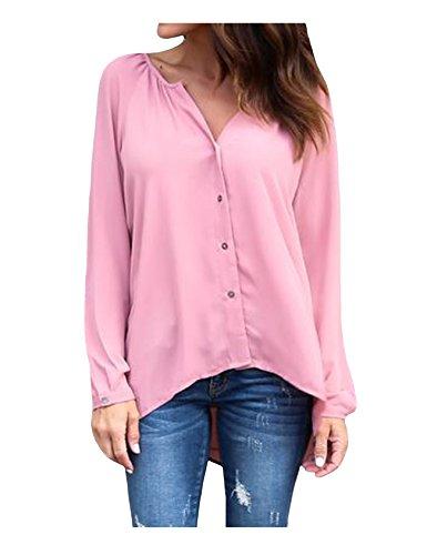 花コスチューム集団ビエスディディ ブラウス ボタンダウンシャツ 大きいサイズ Vネック ロングスリーブ スリム 無地 レディース