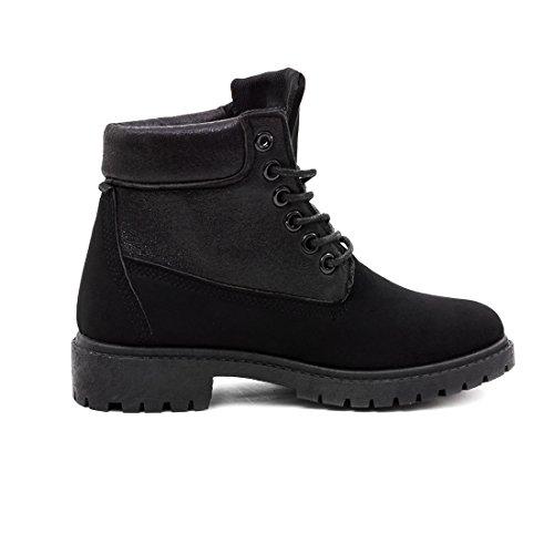 Damen Kinder Metallic Worker Boots Schnür Stiefeletten Stiefel in Lederoptik Schwarz