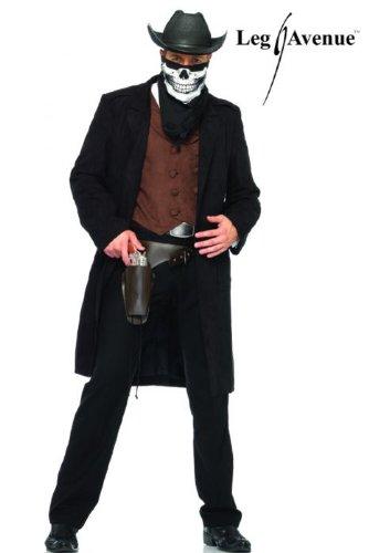 Reaper Cowboy Adult Mens Costumes (Leg Avenue Men's Reaper Cowboy Costume, Black/Burgundy, Medium/Large)