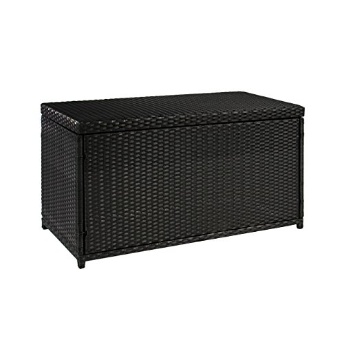 Black Deck Box (Best ChoiceProducts Wicker Deck Storage Box Weather Proof Patio Furniture Pool Toy Container)