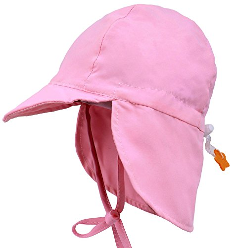 Livingston UPF 50+ UV Ray Sun Protection Baby Hat w/Neck Flap & Drawstring,Pink