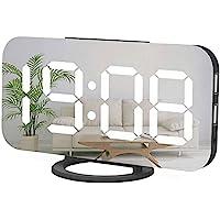 Digital Alarm Clock,Large Mirrored LED Clock,Big Numbers,Dim Night Light 2 USB Charger Ports Desk Alarm Clocks for…