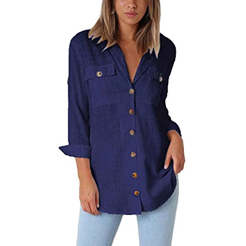 vermers Womens Button Down Shirts - Womens Loose Long Sleeve Casual Tops T-Shirt Blouse(M, -