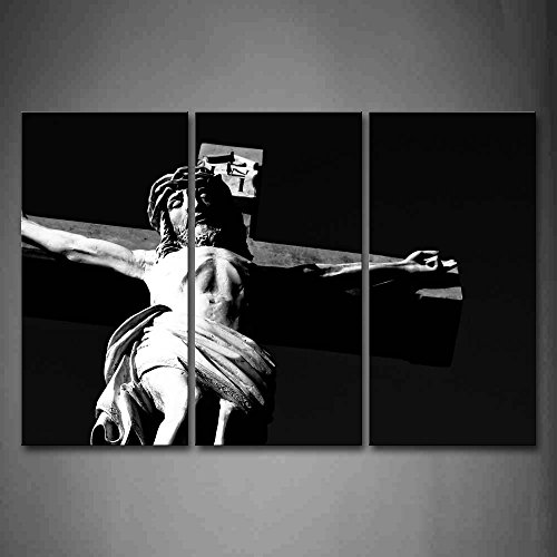 First Wall Art - Black And White Christian Cross Wall Art Painting The Picture Print On Canvas Religion Pictures For Home Decor Decoration Gift by Firstwallart
