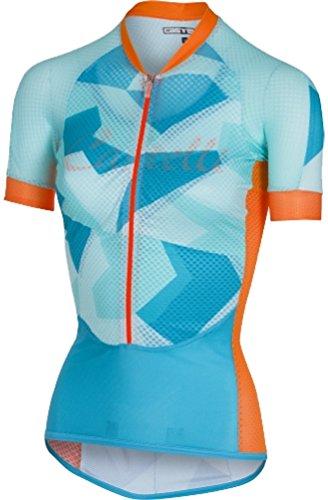 Castelli Climber's Short Sleeve Jersey - Women's Sky Blue/Orange Fluo, L
