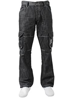337a5d152c8 Enzo Mens Work Cargo Combat Black Denim Jeans Pants Trousers Waist Sizes  28-48