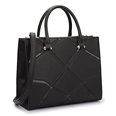 Dasein Women's Designer Satchel Handbag Tote Geometric Triangle Pattern With Shoulder Strap (Black 2)