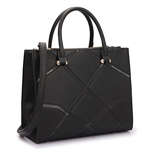 Dasein Women's Designer Satchel Handbag Tote Geometric Triangle Pattern With Shoulder Strap (Black - Designer Black
