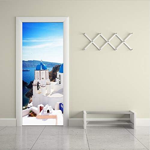 LUCKYYL Pegatinas de Puerta Azul Ciudad Blanca Papel Pintado para Cocina Dormitorio Puerta Cartel decoración: Amazon.es: Hogar