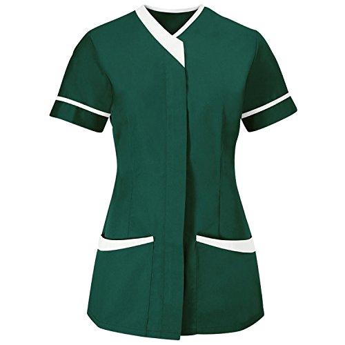 Alexandra Womens/Ladies Contrast Trim Medical/Healthcare Work Tunic (4) (Bottle Green/White)