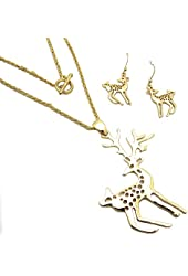 Festive Gold Christmas Reindeer Charm Necklace Set with Matching Earrings - Lead and Nickel Safe