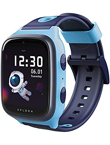 XPLORA Watch Phone for children  SIM Free  Calls  Messages  Kids School Mode  SOS function  GPS Location  Camera and Pedometer Includes Year Warranty  BLUE