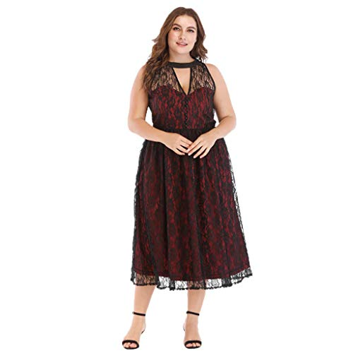 Mikilon Plus Size Embroidery Dress for Women Button Up V Neck Floral Lace Midi Dress Wine