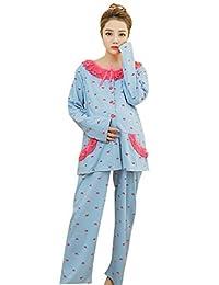 FEOYA Maternity Pajamas Nursing Homewear Cotton Maxi Lounge Blue