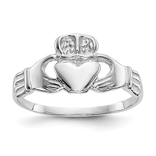 (14k White Gold Irish Claddagh Celtic Knot Band Ring Size 6.00 Fine Jewelry Gifts For Women For Her)