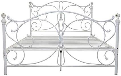 Marco de cama de hierro para cama de matrimonio de matrimonio, tamaño king para niños y adultos, apto para invitados, color blanco