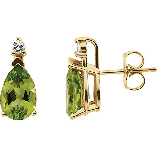 STU001- 14K Yellow Peridot & .08 ct tw Diamond (0.08 Ct Tw Heart)