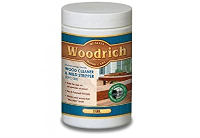 Wood Cleaner & Wood Stripper for Wood Decks, Wood Fences, Wood Siding, and Log Cabins - EFC38 - Woodrich Brand - Moss, Mold, Mildew, Sealer & Stain Remover - Covers up to 750 Square Feet