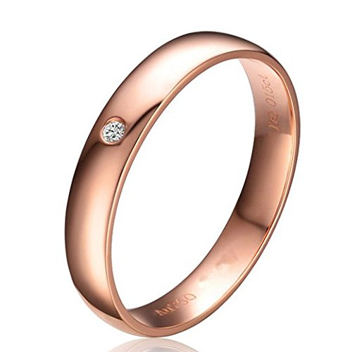 Gowe véritable 18K Or Rose massif His et Hers Bague de mariage Définit Paire rond Taille brillant 0,02ct Certifié H/SI Cadeau