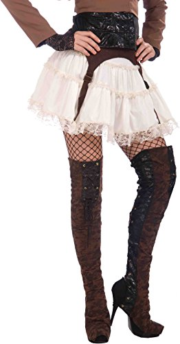 Thigh High Boots Halloween (Forum Novelties Steampunk Thigh High Boot Tops, Black/Brown, One Size)
