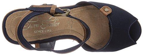 Tom Tailor Tom Tailor Damenschuhe - Sandalias de vestir de lona para mujer azul - azul (marino)
