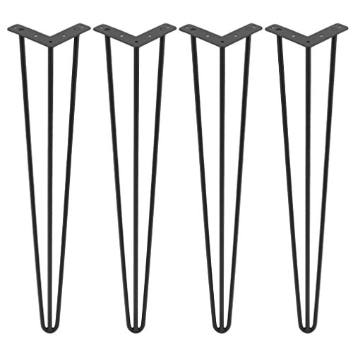 "DIY Hairpin Legs, 3 Rods Table Legs, Set for 4 Metal Hairpin Table Legs, 22""/24""/28""/30""/34"" Inch for Coffee Tables, Modern Desks & Night Stands (30 Inch)"