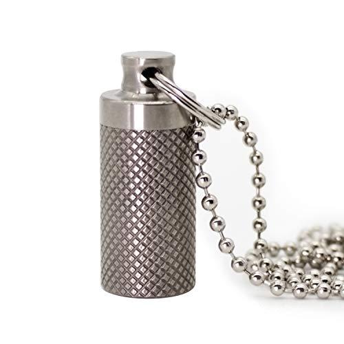 PPFISH Mini Titanium Pill Fob, Charm Pendant Pill Reminder, Keychain Pill Case, Waterproof Pill Container, Emergency Aspirin & Nitroglycerin Pill Holder for Men and Women