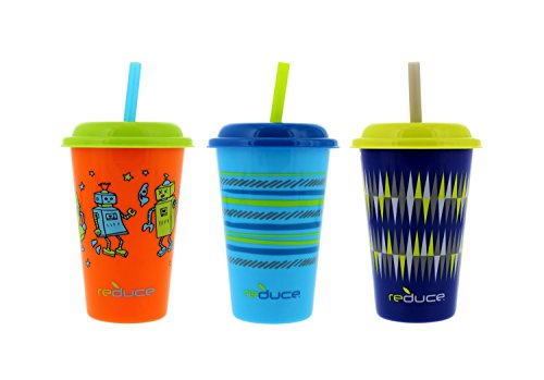 Reduce GoGo's Kids Cosmic Tumblers, Perfect For On The Go Kids Drinks, 12 oz. - 3 Pack (Orange) ()