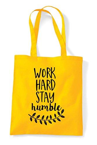 Yellow Shopper Humble Tote Work Hard Bag Statement Stay pxvqx60wRS
