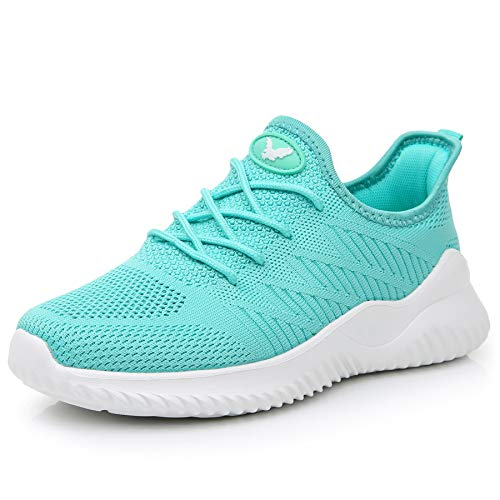 Womens Memory Foam Walking Shoes Lightweight Fashion Sports Gym Jogging Slip on Tennis Running Sneakers Green- 5.5 B(M) US ()